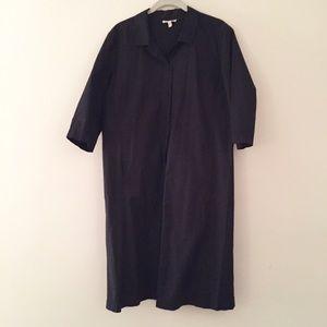 Eileen Fisher black button up dress M